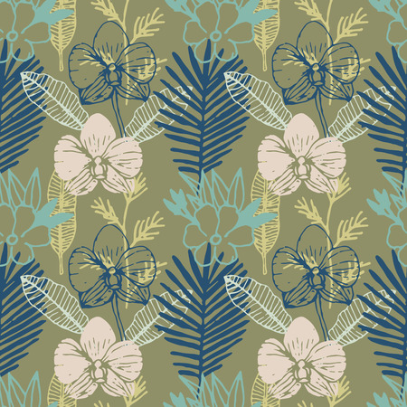 Tropical hand drawn seamless pattern with frangipani, palm leaves, orchid flower. Jungle forest with paradise flowers, natural floral colorful background. Vector illustration. Çizim