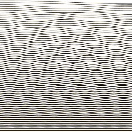 Ripple texture. Water depth. Thin line wave background. Linear halftone. Banner, card, poster. Vector illustration.