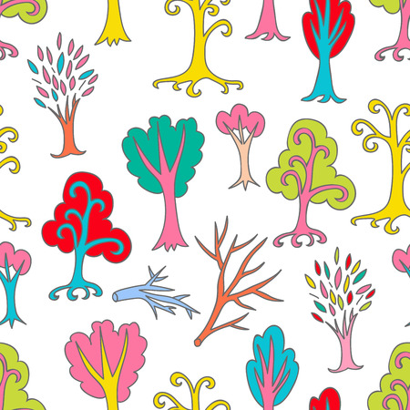 Colorful doodle seamless pattern of different trees and branches. Hand drawn infinity forest background. Cartoon woodland. The best for design, textile, fabric, wrapping paper, kids. Vector illustration.