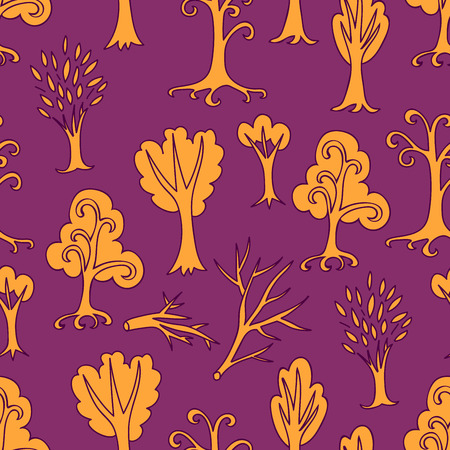 Purple and yellow autumn seamless pattern of different trees and branches. Hand drawn infinity forest background. Cartoon woodland for design, textile, fabric, paper, kids. Wrapping paper. Vector illustration.