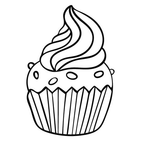 Cute hand drawn cupcake icon. Cake of black thin line contour isolated on white background. Ilustração