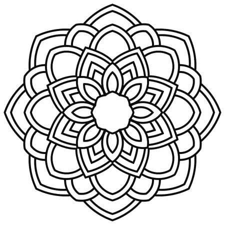 Ornamental round doodle flower isolated on white background. Black outline mandala. Geometric circle element. Vector illustration. Ilustração