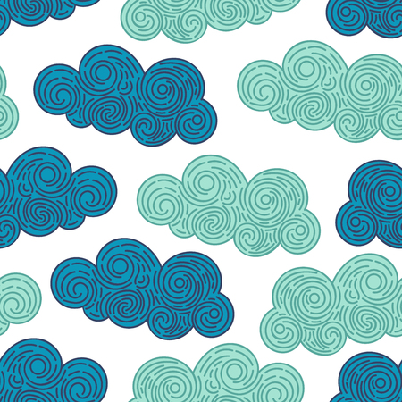 Seamless abstract background with doodle curly clouds on white background. Infinity geometric pattern. Vector illustration.  イラスト・ベクター素材
