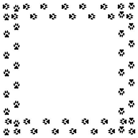 Frame with dog tracks isolated on white background. Vector illustration. Vector Illustration