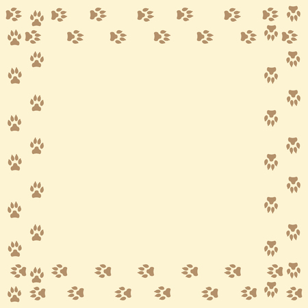 Frame with dog tracks isolated on white background. Vector illustration.