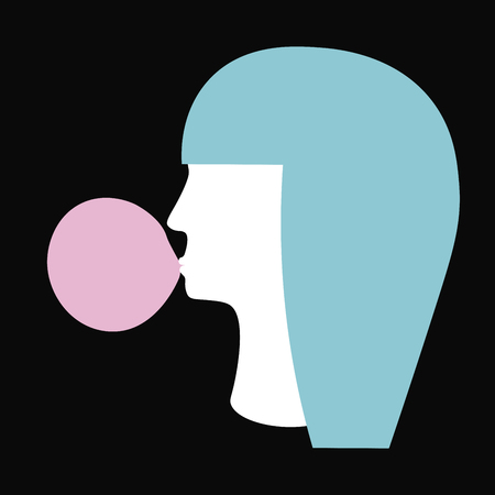 Girl with blue hair and bubble gum. Silhouette. Vector illustration.