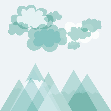 Mountains and cloudy sky, landscape background. Vector illustration.