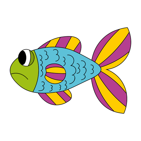Cartoon sad fish in blue, yellow, purple, green color isolated on white. Vector illustration.