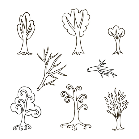 Colorful doodle set of different trees and branches. Hand drawn infinity forest collection. Cartoon woodland. The best for design, textile, fabric, wrapping paper, kids. Vector illustration.