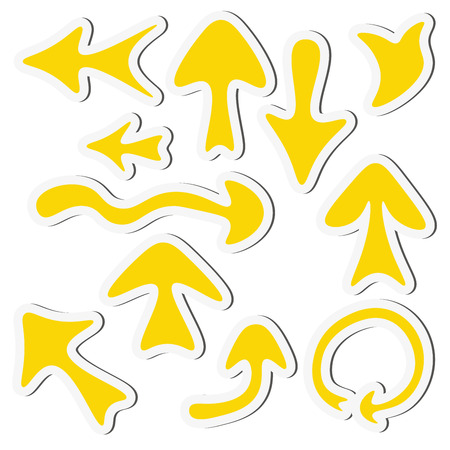Sticker yellow arrow set isolated on a white background. Vector illustration.