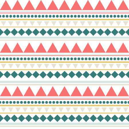 Striped ethnic seamless pattern with dots, triangles, stripes, squares. Tribal linear geometrical background. Vector illustration.
