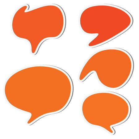 Set of orange speech sticker bubbles. Vector illustration. Ilustración de vector