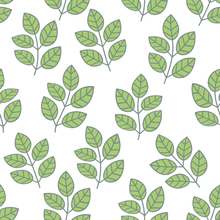 Green foliage seamless pattern. Floral background with branches and leaves. Vector illustration.