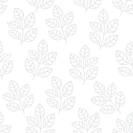 Thin line foliage seamless pattern. Floral background with branches and leaves. Vector illustration.