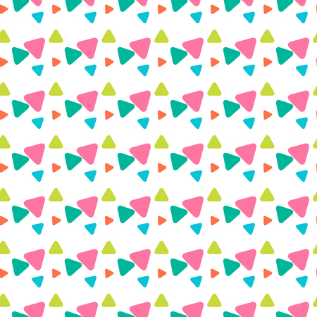 Colorful geometrical cute seamless pattern with pink, orange, green round triangles on white. Geometric endless background of geometric shapes. Vector illustration.