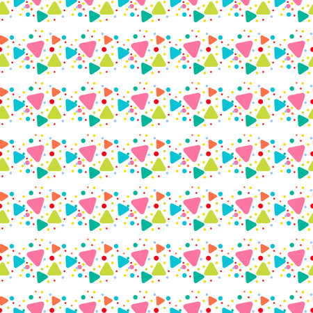 Colorful geometrical cute seamless pattern with pink, orange, green circles, round triangles on white. Geometric endless background of geometric shapes. Vector illustration.