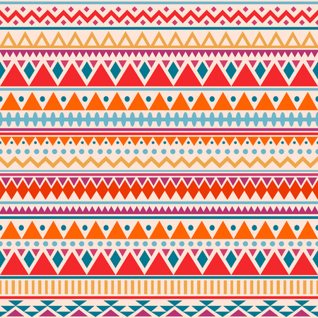 Colorful ethnic seamless pattern. Cute tribal background. Geometrical backdrop. Vector illustration. 矢量图像