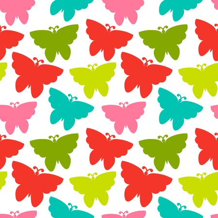 Colorful seamless pattern with butterfly. Wrapping paper, background. Vector illustration.