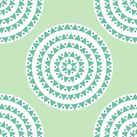 Ethnic seamless pattern with circles, dots, triangles. Tribal background. Vector illustration.