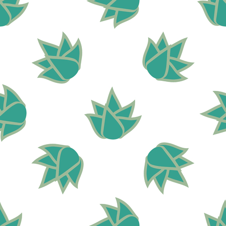 Seamless pattern with succulent flower on white background. Vector illustration.