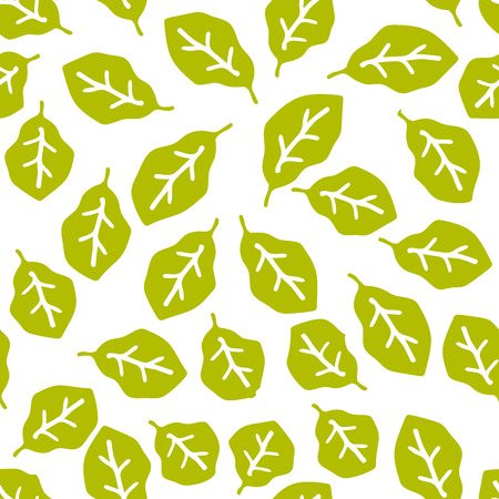 Green foliage seamless pattern. Floral background with branches and leaves. Vector illustration. Illustration