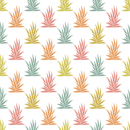 Seamless pattern with tropical, succulent plants, bushes. Floral ornament on a white background. Vector illustration.