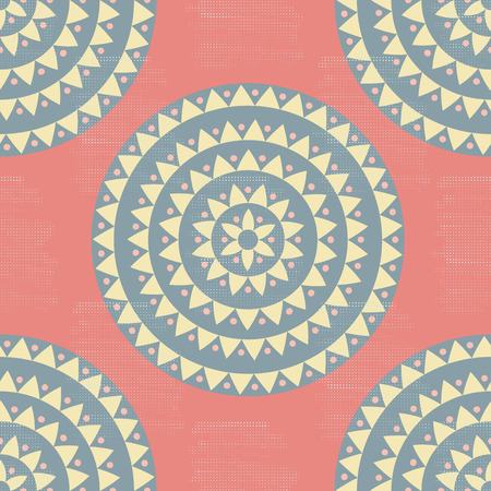 Colorful pink, yellow, gray grunge halftone ethnic tribal native mandala seamless pattern. Ornamental polka dot background with floral motifs, triangles, dots. Vector illustration.