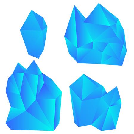 Satz bunte Kristalle lokalisiert auf weißem Hintergrund. Vektorillustration.