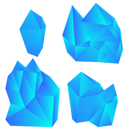 Set of colorful crystals isolated on white background. Vector illustration.