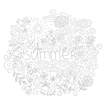Summer postcard. Doodle summer card with floral elements, flowers, sun, curly lines. Vector illustration. 일러스트