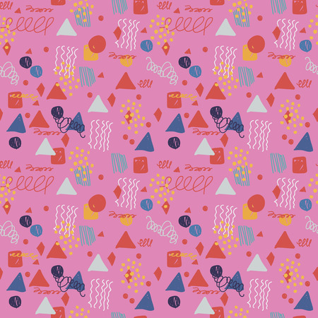 Modern hand draw colorful abstract seamless pattern with geometrical shapes: circles, triangles, lines. Vector illustration.