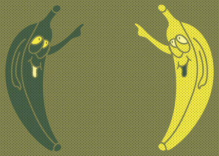Cartoon cheerful crazy pop art banana pointer on the background