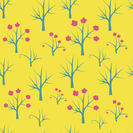 Forest seamless pattern. Background with bare tree, blooming tree, branches. Vector illustration.
