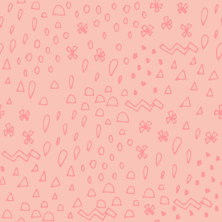 Pastel pink hand drawn abstract seamless pattern with different shapes: triangle, drop, dot, zigzag. Memphis seamless pattern. Geometric elements memphis in the style of 80s. Vector illustration.