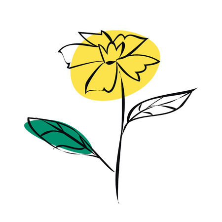 Sketch yellow flower of black outlines. Vector illustration isolated on white background.