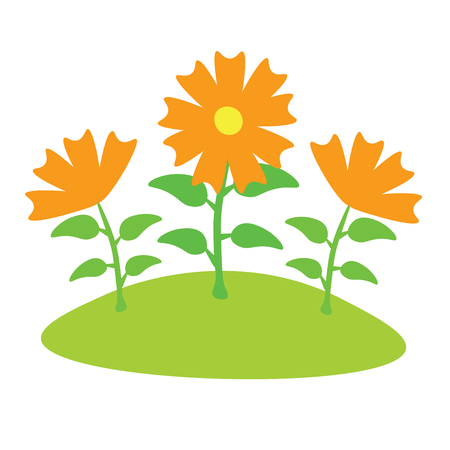 Cartoon orange flowers on the lawn. Vector illustration.