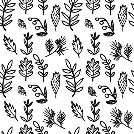 Vector seamless hand drawn floral pattern. Background with plants, leaves, spruce branch, berry, cone.
