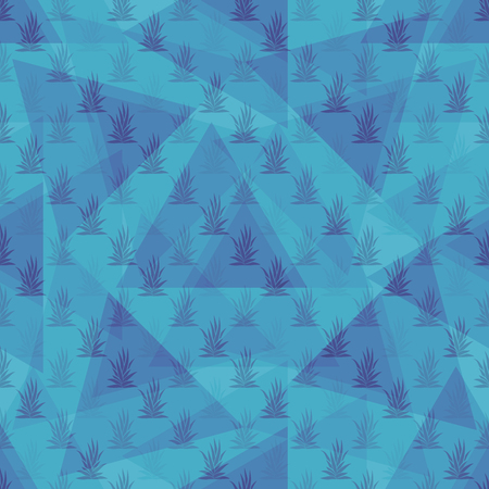 Seamless pattern with tropical succulent plants and triangles. Vector illustration.