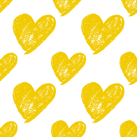 Colorful hand drawn heart grunge cute seamless pattern. Vector illustration. Illustration
