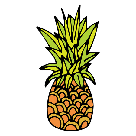 Hand drawn pineapple with black outline isolated on white background. Cartoon pineapple. Vector illustration.