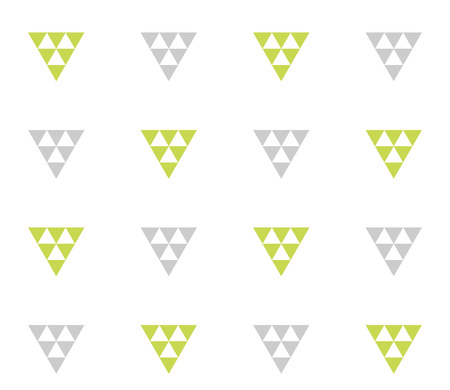 Seamless geometric pattern wth colorful triangles on white background. Seamless abstract triangle geometrical background. Infinity geometric pattern. Vector illustration.