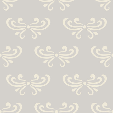 Pastel beige abstract damask seamless pattern of curls in retro style. Floral vintage background. Art nouveau style design. Vector illustration.