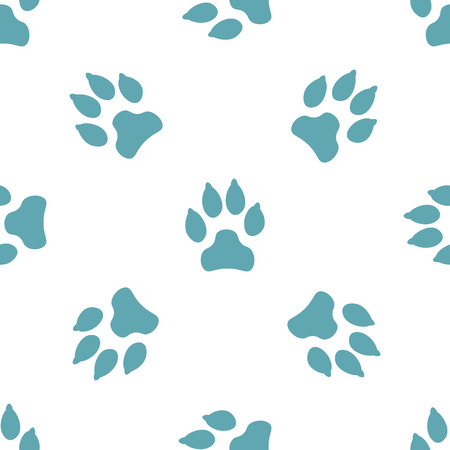 Seamless pattern with dog tracks. Vector illustration.