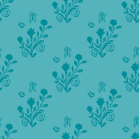 Rose bushes with butterflies. Floral seamless pattern with flowers. Blue background for wrapping paper, textile, card, web. Vector illustration.