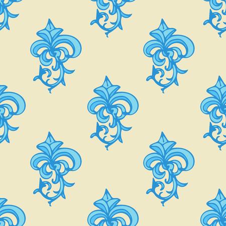 Cute damask, fleur de lis abstract seamless pattern with hand drawn decoration.  Vector illustration. Illusztráció