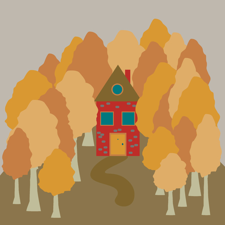 Autumn house in the woods, trees, village