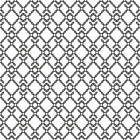 Elegant curly endless pattern. Seamless black and white background. Damask. Ilustração