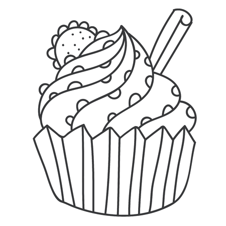 Cartoon thin line cake with cinnamon, chocolate and cookie for coloring book for adults. Vector illustration.