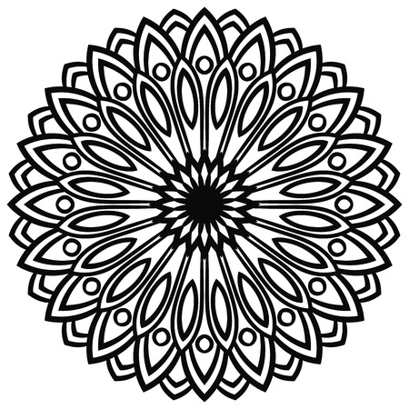 Outline Mandala. Ornamental round doodle flower isolated on white background. Geometric circle element. Vector illustration. Illustration