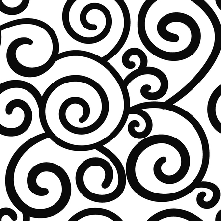 Abstract hand drawn doodle thin line wavy seamless pattern. Curly linear messy background. Vector illustration. Vetores